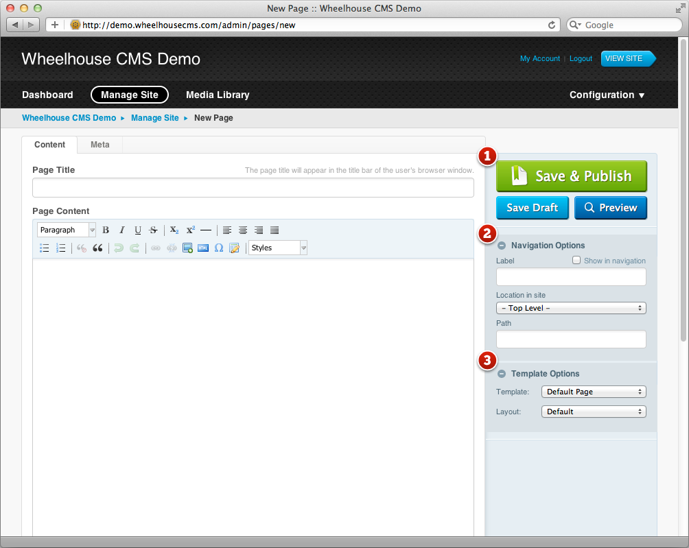 How to create a page with custom template file in subrion cms.
