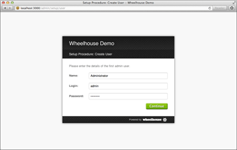 Screenshot of the Wheelhouse CMS setup process