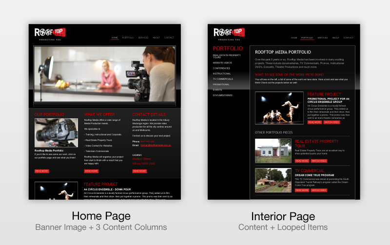Screenshots of home page and interior page layouts from rooftopmedia.com.au