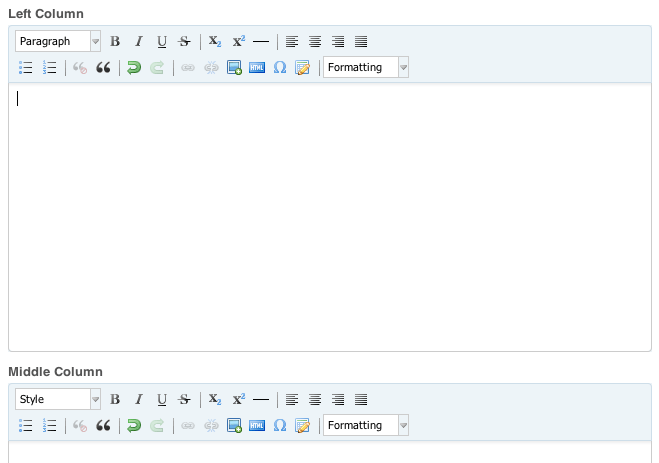 Screenshot of content editing forms