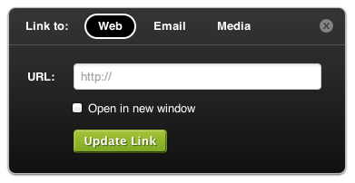 Screenshot of Insert Link popup
